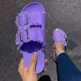 Solid Color Denim Buckle Sandals Nihaostyles Wholesale Clothing Vendor NSHYR75935