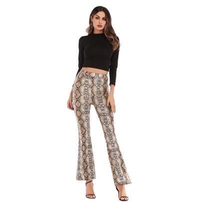 Leopard-print Flared Pants Nihaostyles Wholesale Clothing Vendor NSDMB75982