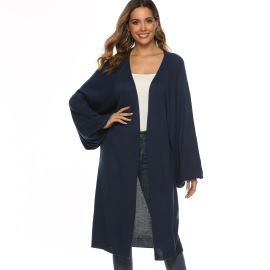 Solid Color Horn Long-sleeved Loose Mid-length Knitted Cardigan Nihaostyles Wholesale Clothing Vendor NSOY75984