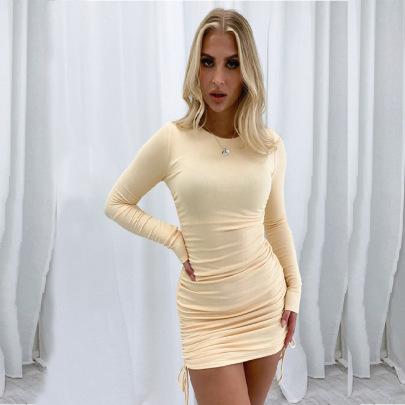 Side Lace Long-sleeved Dress Nihaostyles Wholesale Clothing Vendor NSXS75993