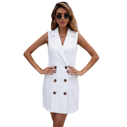 Striped Waist Slimming Sleeveless Collar Dress Nihaostyles Wholesale Clothing Vendor NSJM76013