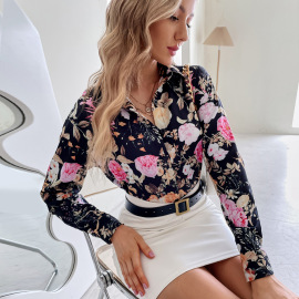 V-neck Floral Slim Fit Printed Knitted Shirt Nihaostyles Clothing Wholesale NSJM76014