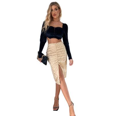 Women's Wave Point High Waist Slim Straight Skirt Nihaostyles Clothing Wholesale NSJM76015
