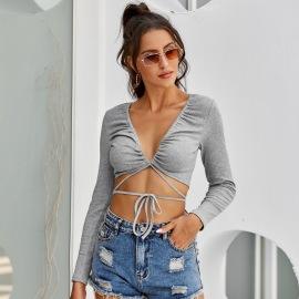 Women's Slim V-neck Slim Drawstring T-shirt Nihaostyles Clothing Wholesale NSJM76019