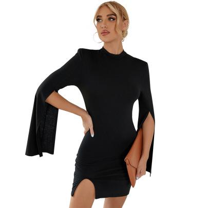 Women's Irregular Split Pure Color Short Dress Nihaostyles Clothing Wholesale NSJM76022