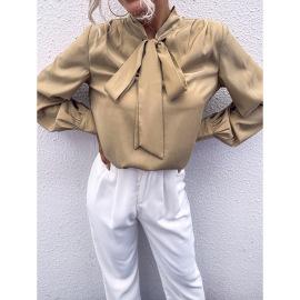 Women's Bow Knot Thin Silk Blouse Nihaostyles Clothing Wholesale NSJM76024