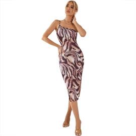 Women's Sling Split Tiger Pattern Dress Nihaostyles Clothing Wholesale NSJM76027