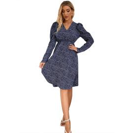 Women's Print V-neck Waist Slimming Mid-length Dress Nihaostyles Clothing Wholesale NSJM76030