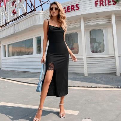 Light Mature V-neck Split Suspender Dress Nihaostyles Wholesale Clothing Vendor NSJM76032