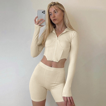Women's Zipper Long-sleeved Hooded Top Tights Two-piece Nihaostyles Clothing Wholesale NSLJ76055
