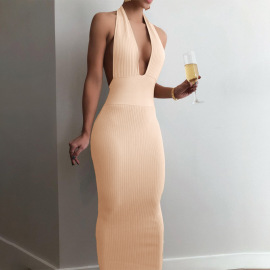 Women's Hanging Neck V-neck Slim Dress Nihaostyles Clothing Wholesale NSLJ76068