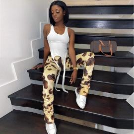 Women's Printed Zipper Trousers Nihaostyles Clothing Wholesale NSLJ76073