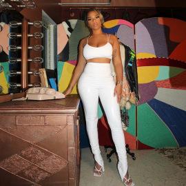 Women's Fold Split PU Leather Leggings Nihaostyles Clothing Wholesale NSLJ76080