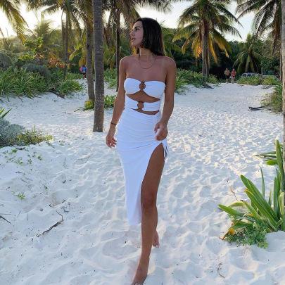 Women's Slim Sleeveless Hollow Folds Split Dress Nihaostyles Clothing Wholesale NSLJ76087