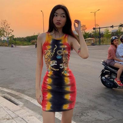 Women's Tiger Print Sleeveless Dress Nihaostyles Clothing Wholesale NSLJ76110