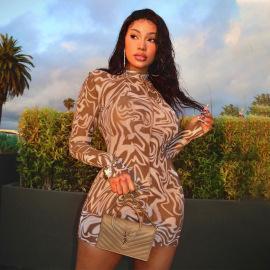 Women's Printing Long-sleeved Slim Fit Dress Nihaostyles Clothing Wholesale NSLJ76116