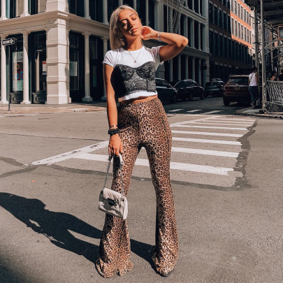 Women's Leopard Print High-waisted Bell-bottoms Nihaostyles Clothing Wholesale NSLJ76134