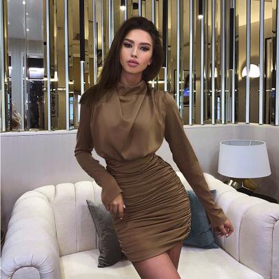 Women's Long-sleeved Folds Dress Nihaostyles Clothing Wholesale NSLJ76144