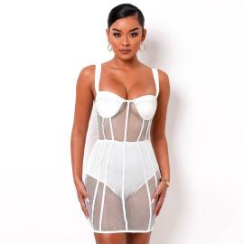 Women's Mesh See-through Stitching Suspender Dress Nihaostyles Clothing Wholesale NSLJ76146