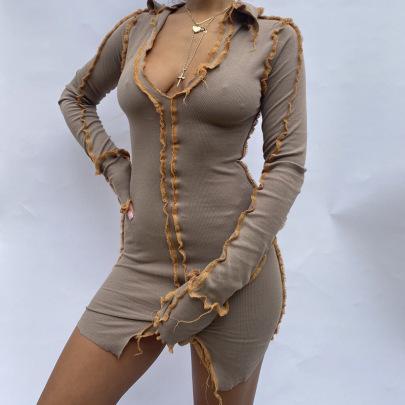Women's Side Lapel Ribbed Split Dress Nihaostyles Clothing Wholesale NSLJ76158