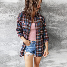 Women's Houndstooth Plaid Long-sleeved Shirt Nihaostyles Clothing Wholesale NSKL76266
