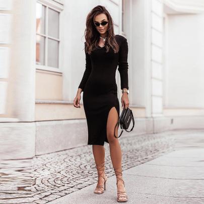 Women's V-neck Slim Long-sleeved Slit Dress Nihaostyles Clothing Wholesale NSKL76267