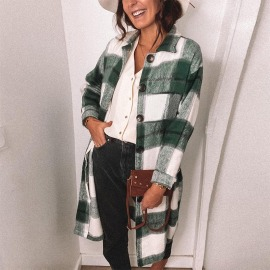 Women's Loose Button Plaid Long-sleeved Long Shirt Nihaostyles Clothing Wholesale NSKL76271