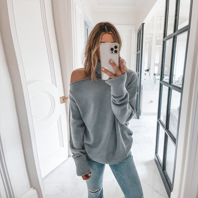 Women's Turtleneck Strapless Stitching Sweater Nihaostyles Clothing Wholesale NSKL76272