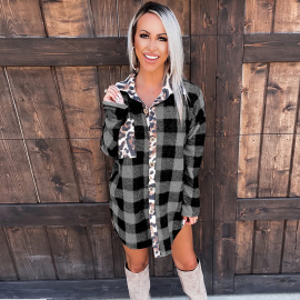 Women's Houndstooth Leopard Print Check Long-sleeved Shirt Nihaostyles Clothing Wholesale NSKL76275