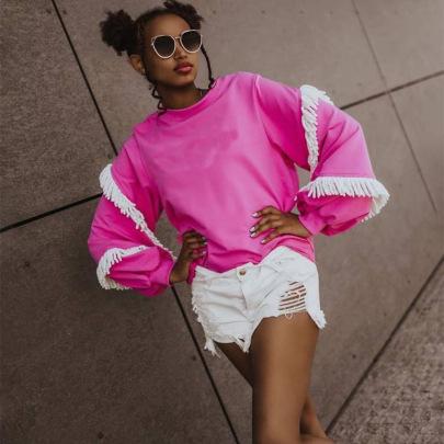 Women's Lace Round Neck Long-sleeved Sweatshirt Nihaostyles Clothing Wholesale NSKL76279