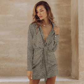Women's Long-sleeved Slim Large Size Printed Dress Nihaostyles Clothing Wholesale NSHYG76281