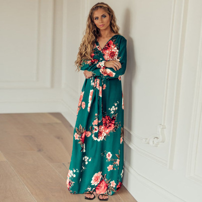 Women's V-neck Long-sleeved Floral Knitted Dress Nihaostyles Clothing Wholesale NSHYG76282