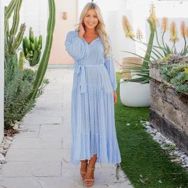 Thin And Loose Plaid Printed Long Sleeve Dress Nihaostyles Clothing Wholesale NSHYG76284