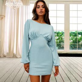 Women's Knitted Long-sleeved Ribbed Slim Dress Nihaostyles Clothing Wholesale NSHYG76285