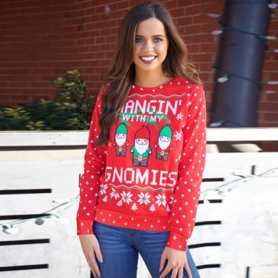 Women's Christmas Printed Long Sleeve Fleece Sweater Nihaostyles Clothing Wholesale NSHYG76287
