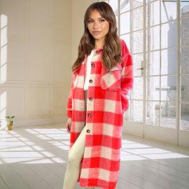 Women's Plaid Woolen Long Shirt Nihaostyles Clothing Wholesale NSHYG76286