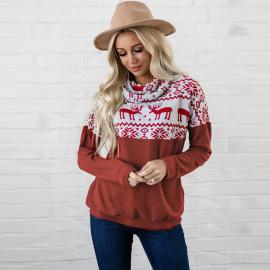 Long-sleeved Pullover Christmas Plus Velvet Sweater Nihaostyles Clothing Wholesale NSHYG76288