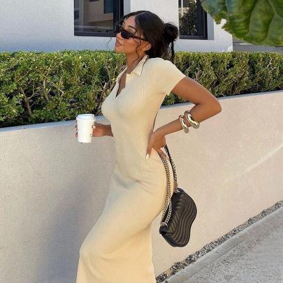 Lapel Short-sleeved Sexy Backless Slim Split Dress Wholesale Nihaostyles Clothing Vendor NSXPF71562