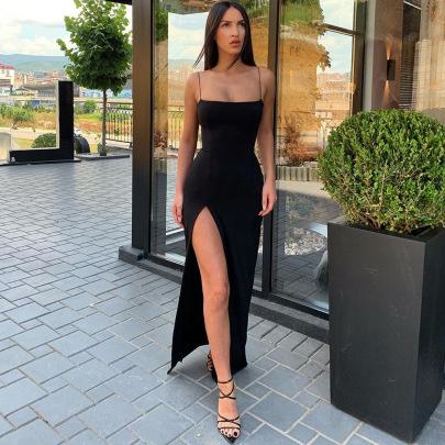 Sling Neckline Slim Backless Sexy Split Dress Wholesale Nihaostyles Clothing Vendor NSXPF71572