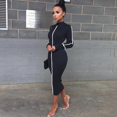 Contrast Color Long-sleeved Slim Mid-length Dress Wholesale Nihaostyles Clothing Vendor NSXPF71574