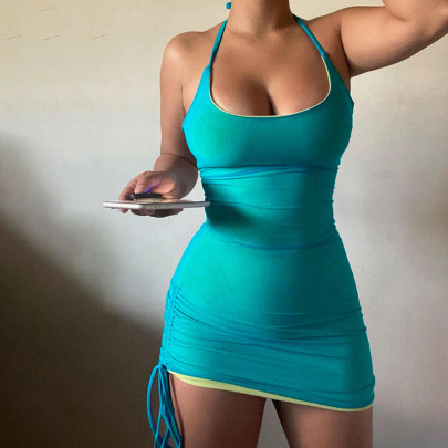 Women's Halter Neck Sexy Low-cut  Strappy Slim Dress Nihaostyles Clothing Wholesale NSXPF71606