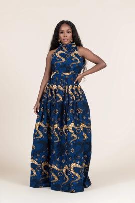 Women's African Style Digital Printing Zipper High Neck Dress Nihaostyles Clothing Wholesale NSMDF71153