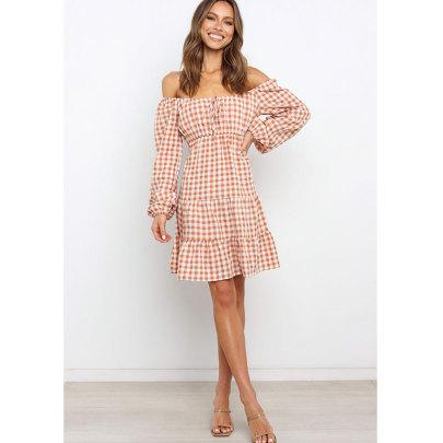Women's Long-sleeved Plaid Dress Nihaostyles Clothing Wholesale NSJIM71631