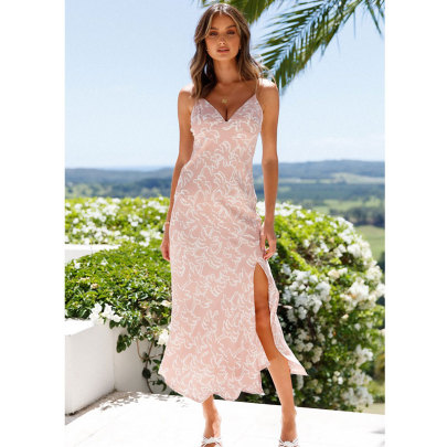 Women's Summer Sling Split Printed Dress Nihaostyles Clothing Wholesale NSJIM71629