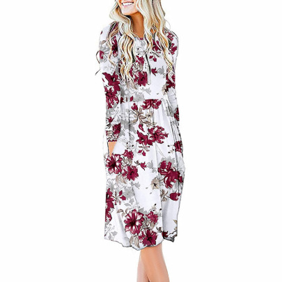 Autumn And Winter Women's Printed Long-sleeved Round Neck Waist Dress Nihaostyles Clothing Wholesale NSZH71388