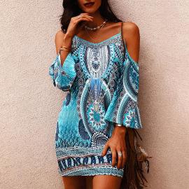 Women's Summer Print Round Neck Short-sleeved Suspender Dress Nihaostyles Clothing Wholesale NSZH71389