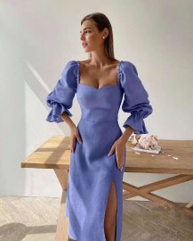 Solid Color Bubble Horn Long-sleeved Mid-length High-waisted Split Dress Nihaostyles Wholesale Clothing Vendor NSMS76293