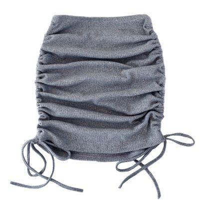 Knitted Thread Side Drawstring Elastic Pleated Skirt Nihaostyles Wholesale Clothing Vendor NSLDY76300