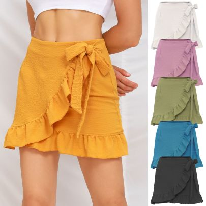 Solid Color Lace-up Zipper Bubble Cloth Ruffle Skirt Nihaostyles Wholesale Clothing Vendor NSLDY76312
