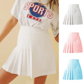 Solid Color Pleated High Waist Zipper Skirt Nihaostyles Wholesale Clothing Vendor NSLDY76320